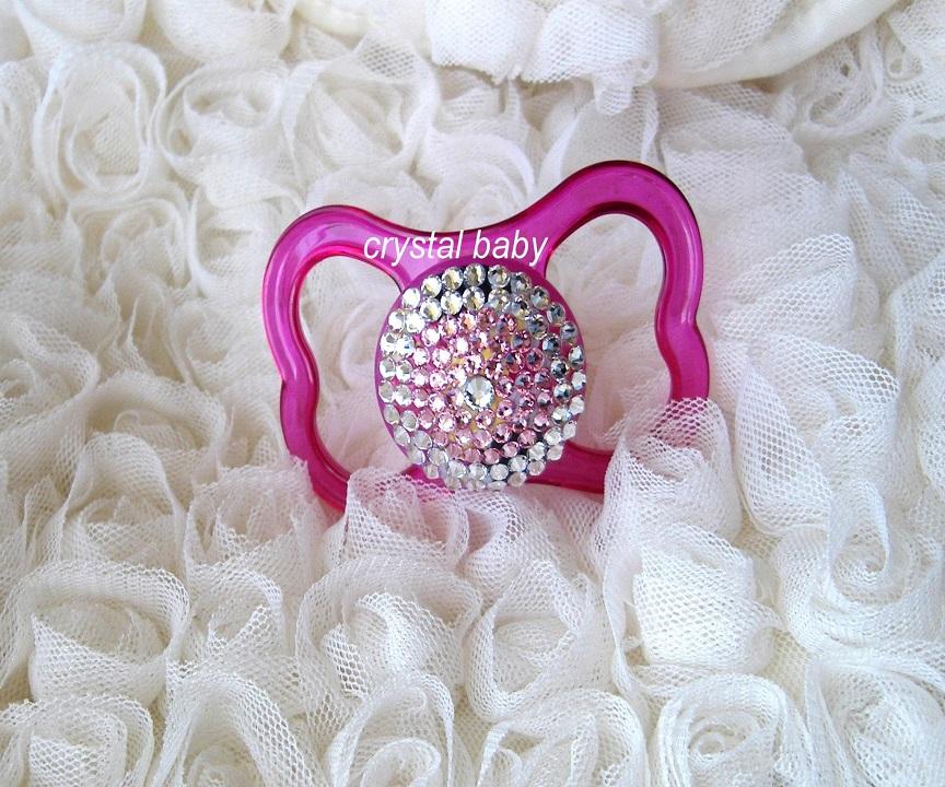 Πιπίλα Ανοιχτή Πεταλούδα Ροζ-Κρύσταλ (Μ)