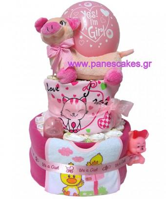 Πάνες Κέικ Ροζ Γουρουνίτσα, Diaper Cake