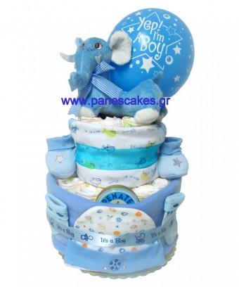 Πάνες Κέικ Σιέλ Ελεφαντάκι, Diaper Cake, 44€