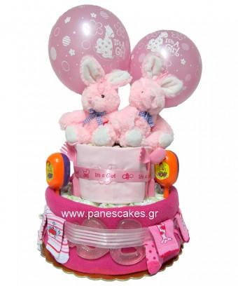 2όροφο για Δίδυμα Κορίτσια, Diaper Cake
