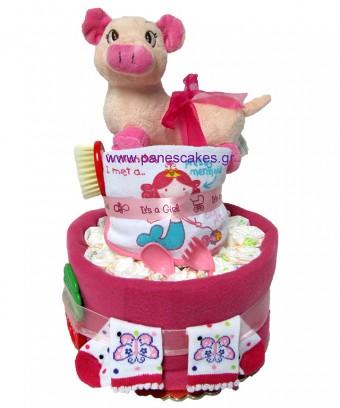 2όροφη Γουρουνίτσα Πάνες Κέικ, Diaper Cake