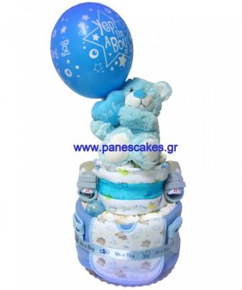 Αρκουδάκι It' s a Boy Πάνες Κέικ, Diaper Cakes