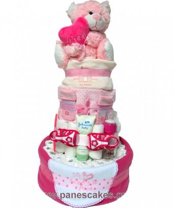 Ροζ Αρκουδίτσα It' s a Girl, Diaper Cake, 85€