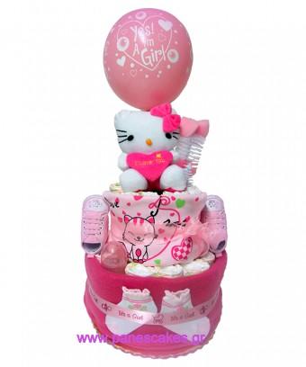 Hello Kitty Ροζ, Diaper Cake, 42€