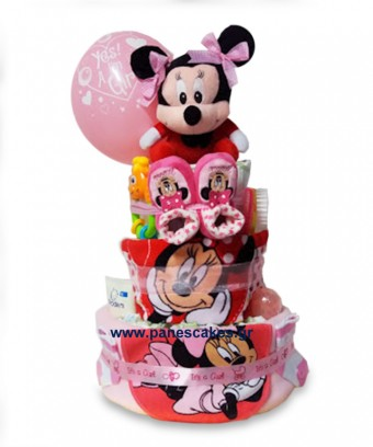 Diaper cake με κόκκινη Μίνι Μάους
