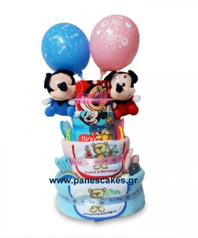 Diaper Cake Δίδυμα Μίκι&Μίνι