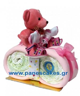 Μηχανάκι Ροζ με Καλλυντικό κ Παπούτσια