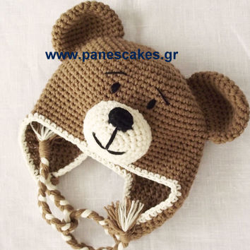 64ac34e96ef Πλεκτό Σκουφάκι Αρκουδάκι - Panes Cakes