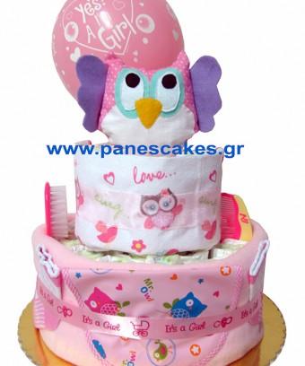 Diaper Cake Κουκουβάγια Ροζ, 2όροφη