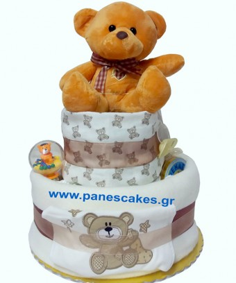 Diaper Cake Μπεζ Αρκουδάκι