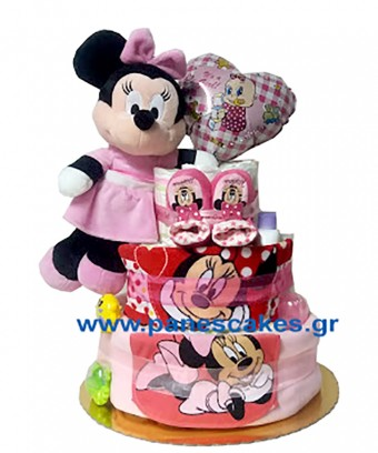 Diaper Cake Μίνι Μάους με Μπαλόνι Καρδούλα