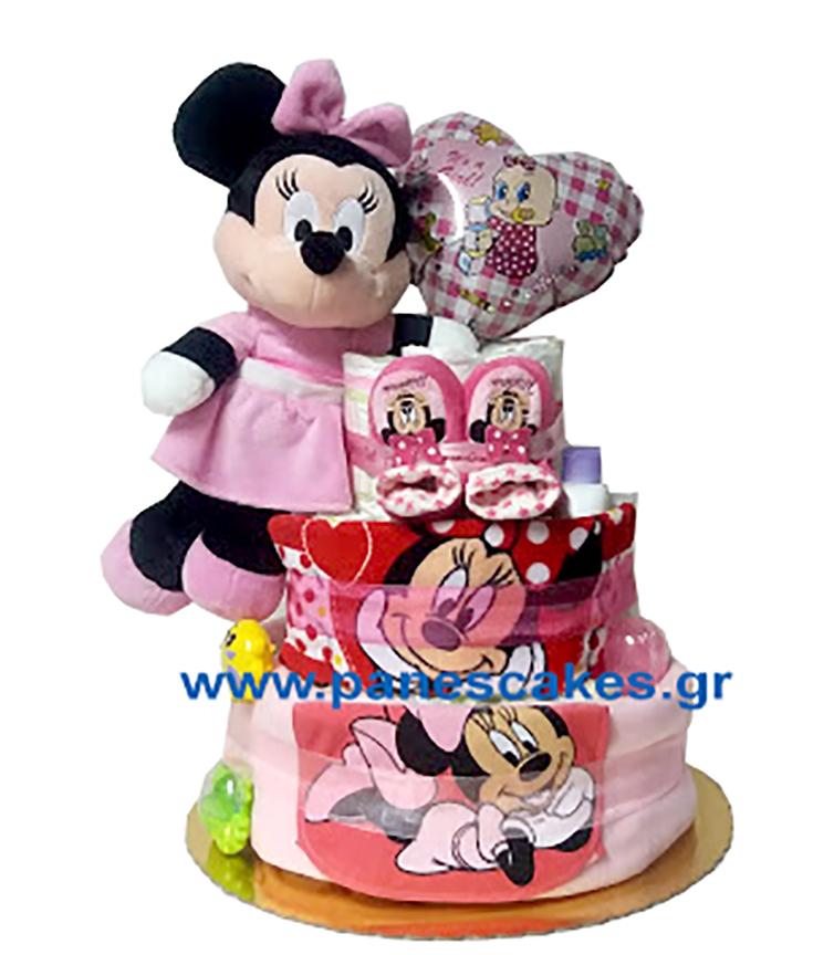 Diaper Cake Μίνι Μάους 3όροφη με καρδούλα Μπαλόνι